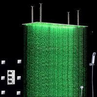 led rain shower 500*1000mm with massage body jets led rain shower set