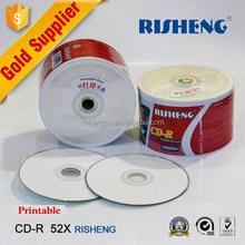 RISENG BLANK dvd printable 4.7GB/BLANK 700MB cd-r printable grade a/BLANK 52x cdr printable