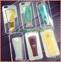 Colorful Fashion Transparent Crystal hard Liquid 3D drink bottle phone case for iphone 5S,for iPhone 5s case,for iphone 6 case