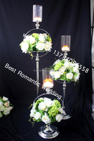 tall glass candle holder with flower bowl/metal flower stand wedding centerpieces