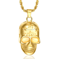Gold star engraving stainless steel skull pendant charm with rope chain for men Alibaba online wholesale