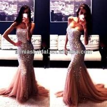 горячая продажа blingbling русалка вечерние платья с развертки поезд блестящие вышивки шнурка сексуальное платье выпускного вече