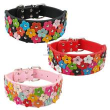 Large dog collars custom dog collars flowers studded leather dog collars