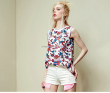 2015 fashion colored women tank top split joint tank top o neck tank top for ladies