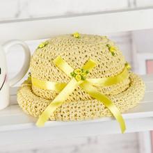Flor de verano moda crochet el sombrero de paja para niños de los niños