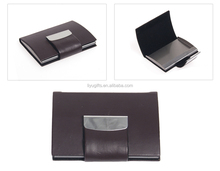Custom leather Business card case openings with magnets for advertising
