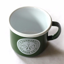 Newly developed 150G high quality custom edge color and custom handle color enamel metal cup mug