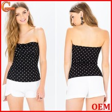 Sex strapless polka dot print tube top fashion women tops
