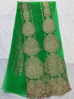 green three round gold yarn embroidery netting lace fabric