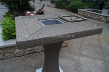 Outdoor Wicker High Bar Stools and Table Set