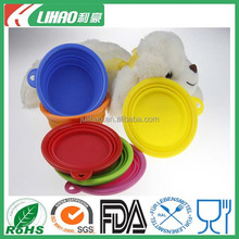 Eco-friendly Dog Cat Pet Collapsible Travel Feeding Foldable Silicone Bowl