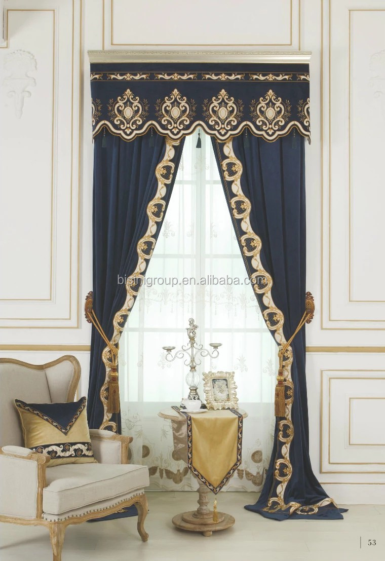 royal classique anglais style victorien bleu floral rideau avec personnalis valance bf11 11303b. Black Bedroom Furniture Sets. Home Design Ideas