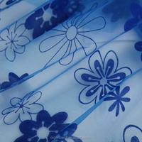 2015 latest dress designs floral dress fabric flocking organza fabric
