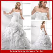 WD-1210 Stunning ruched elongated bodice ruffled ball gown skirt exotic wedding dresses online sale