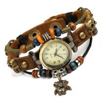 2015 alibaba PU leather cord bracelet watch