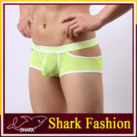 Shark Fashion bright color man underwear hot lace sexy lingerie with weaving band