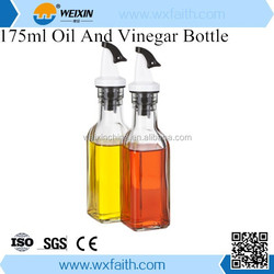 Elemental Kitchen 175ml Easy Pouring and Cleaning Glass Oil and Vinegar Cruet Bottle Set
