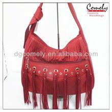 nueva llegada 2014 borla roja casual bolsa de hombro bolso de señora