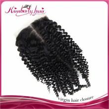 Wholesale Mongolian Kinky Curly Hair Lace Closure 100% Human Hair Closure Bleached Knots