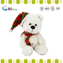ICTI animal plush pure white teddy bear with a cute santa hat toys for sales
