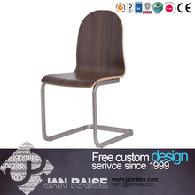 White/Black PU wood chair with woven seat