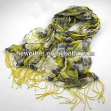 Lemo wl-kf031 amarillo impreso bufanda con borlas de cuentas