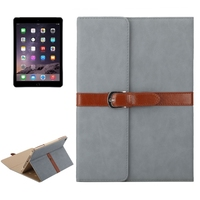 Newest Products 3 Folding Flip Leather Case for iPad Air 2 Leather Case with Holder and Buckle