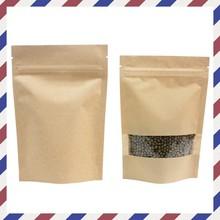 Brown kraft paper bag with window and ziplock for snack or beef jerky