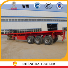12.5m length leaf spring suspension 3 axle 40ft flat deck container trailer