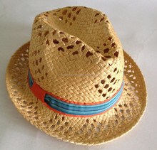 new arrival yellow crocheted straw ladies' bucket hat with colourful band