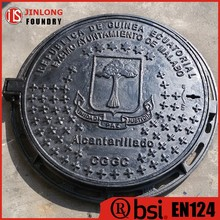 EN124 ductile cast iron manhole cover with frame from factory