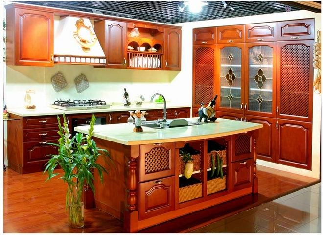 Solid cherry wood kitchen cabinets furniture with granite countertop