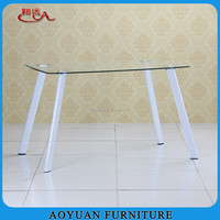 C256 oval tempered glass 4 painted legs dining room table