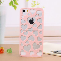 Low Price Sales Love Heart Metal Case for iPhone5/5s Cute phone Case Design for Girls