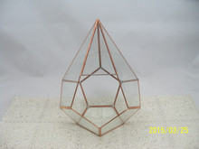 gold frame Geometric clear glass plant terrarium,