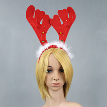 Wholesale Design Christmas Party Small Bell and LED Ornament Antlers Headband