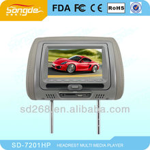 """7"""" car Headrest Monitor with SD/USB Wide TFT LED Screen built-in games&speakers IR Earphone"""