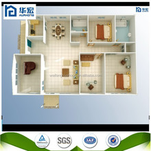 2015 Hot Sell!!! easy assemble recycle used low cost fast assemble ready made prefab 2 bedroom house plan
