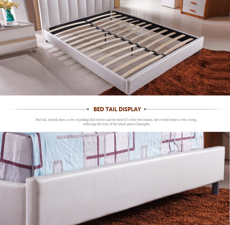 Muebles de dormitorio de madera de plataforma de cuero blanco doble ...