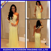 Ready to Ship New Products Sexy One Shoulder Backless Lace Floor Length Yellow Evening Dress 2014