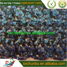 African poplular dark and shine sequin embroidery fabric for 2016 new fashion garment