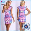 OEM Dongguan Yihao woman Tropical Print Bodycon Dress Cut Out Waist hot selling women sexy printed wholesale dress