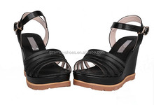 Black leather fashion heeled women sandals 2015 high increased within comfort sandals for girls