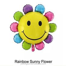 Hot sale high quality helium aluminium foil decorative rainbow sunny flower Balloon as toys for kids
