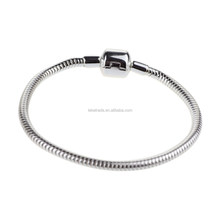 "Wholesale Authentic 925 Sterling Silver Little Round Clip Bright Silver 3mm Thick Snake European Bracelet 6.75"" 7"" 8"""