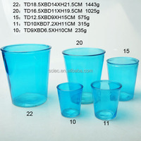 flat glass garden flower pot with colors in different sizes