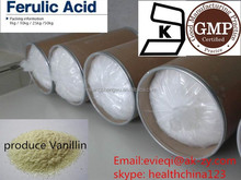 natural ferulic acid 99% , ferulic acid for food flavour vanillin, pharma,cosmetic ingredients