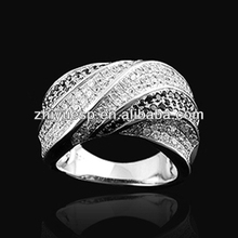 wHITE gold plated 925 silver ring with black stone