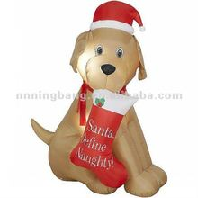christmas decoration inflatable lovely dog with boot