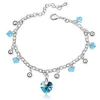 alibaba manufacturers high quality heart charm bracelet made with Swarovski elements